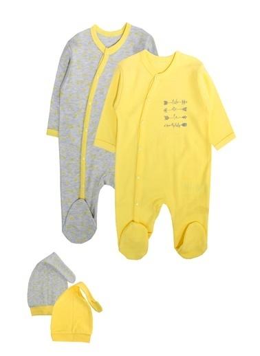 By Leyal For Kids Ok Detaylı 2Li Tulum Şapka Set (2Tulum+2 Şapka)-4416 Sarı